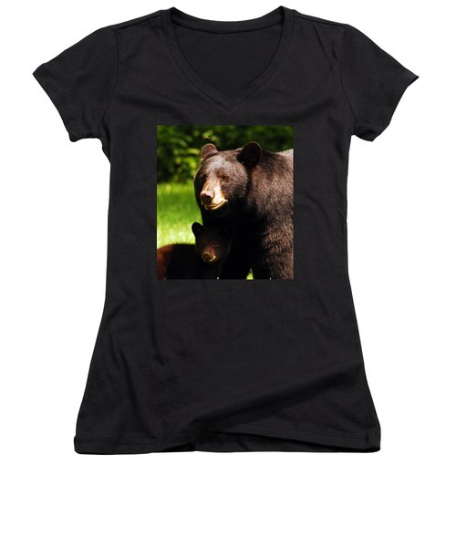 Backyard Bears Women's V-Neck T-Shirt (Junior Cut)