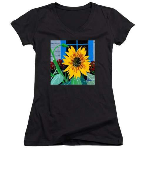 Backyard Flowers  Women's V-Neck