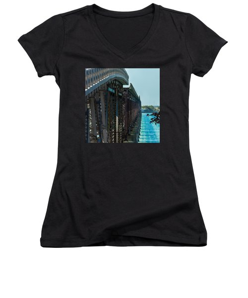 Bahia Honda Bridge Patterns Women's V-Neck (Athletic Fit)