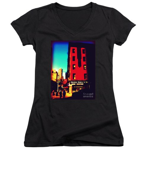 Women's V-Neck T-Shirt (Junior Cut) featuring the photograph The Bakery - New York City Street Scene by Miriam Danar