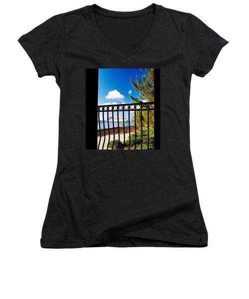 Women's V-Neck T-Shirt (Junior Cut) featuring the photograph Balcony Scene by Amar Sheow