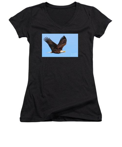 Bald Eagle In Flight Women's V-Neck