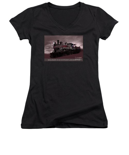 Baldwin 4-6-0 Steam Locomotive Women's V-Neck