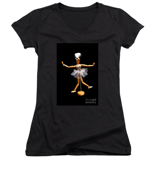Women's V-Neck T-Shirt (Junior Cut) featuring the photograph Ballet Act 2 by Tamyra Crossley