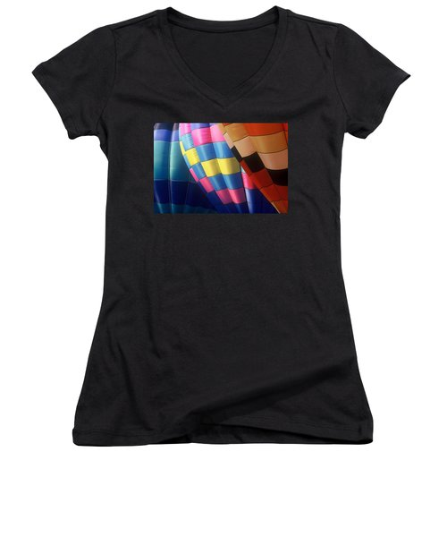 Women's V-Neck T-Shirt (Junior Cut) featuring the photograph Balloon Patterns by Rodney Lee Williams