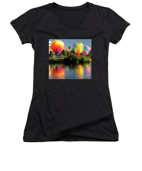 Women's V-Neck T-Shirt (Junior Cut) featuring the photograph Balloons Over Bend Oregon by Kevin Desrosiers