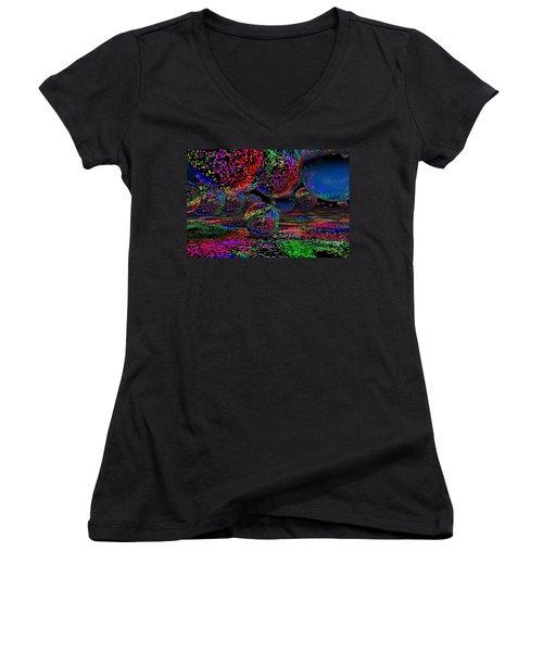 Women's V-Neck T-Shirt (Junior Cut) featuring the digital art Balls1 by Mark Blauhoefer