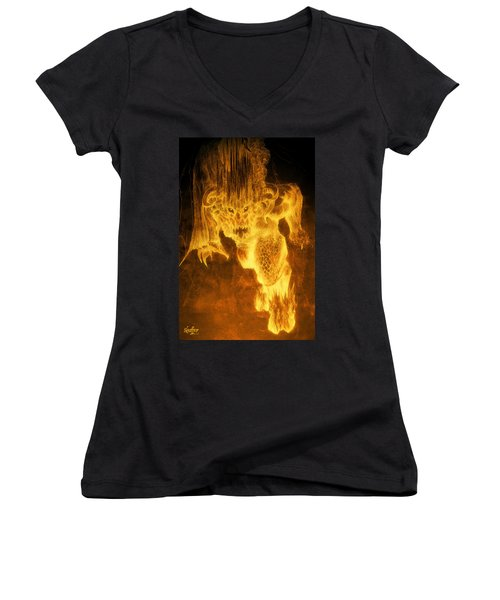 Women's V-Neck T-Shirt (Junior Cut) featuring the mixed media Balrog Of Morgoth by Curtiss Shaffer