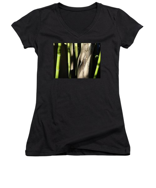 Women's V-Neck T-Shirt (Junior Cut) featuring the photograph Bam  Boo  by Shawn Marlow