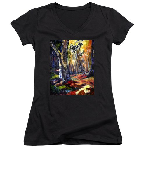 Bamboo Garden With Bunny Women's V-Neck (Athletic Fit)