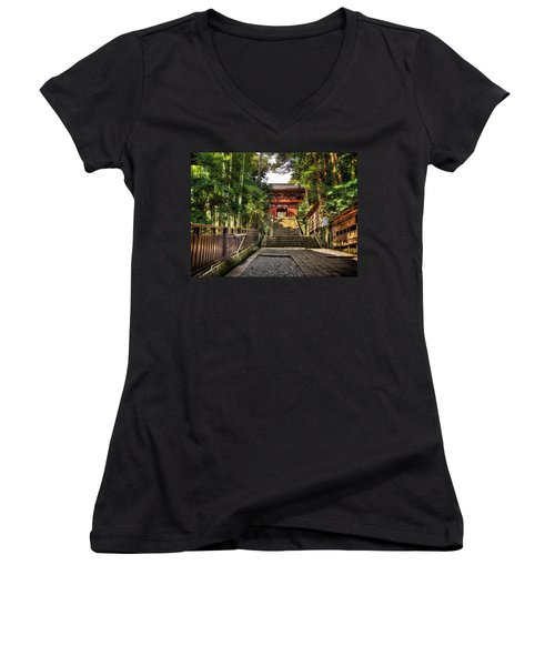 Women's V-Neck T-Shirt (Junior Cut) featuring the photograph Bamboo Temple by John Swartz