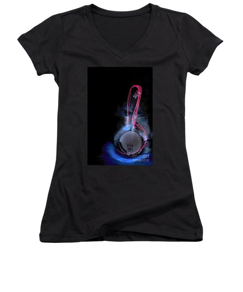 Banjo Women's V-Neck T-Shirt (Junior Cut) by Randi Grace Nilsberg