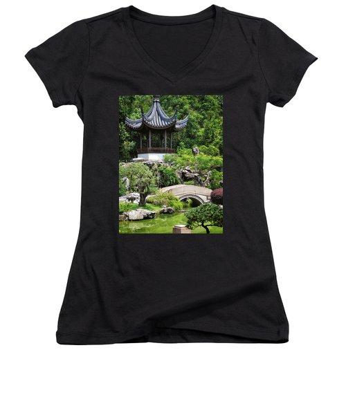 Bansi Garden Women's V-Neck T-Shirt (Junior Cut) by John Swartz