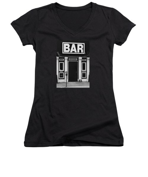 Women's V-Neck T-Shirt (Junior Cut) featuring the photograph Bar by Rodney Lee Williams