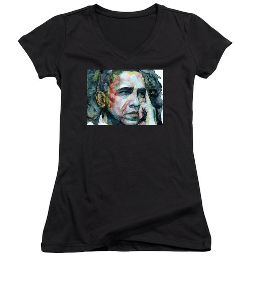 Barack Women's V-Neck T-Shirt (Junior Cut) by Laur Iduc