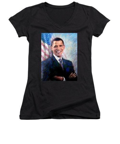 Women's V-Neck T-Shirt (Junior Cut) featuring the drawing Barack Obama by Viola El