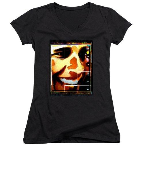 Women's V-Neck T-Shirt (Junior Cut) featuring the digital art Barack Obama by Daniel Janda