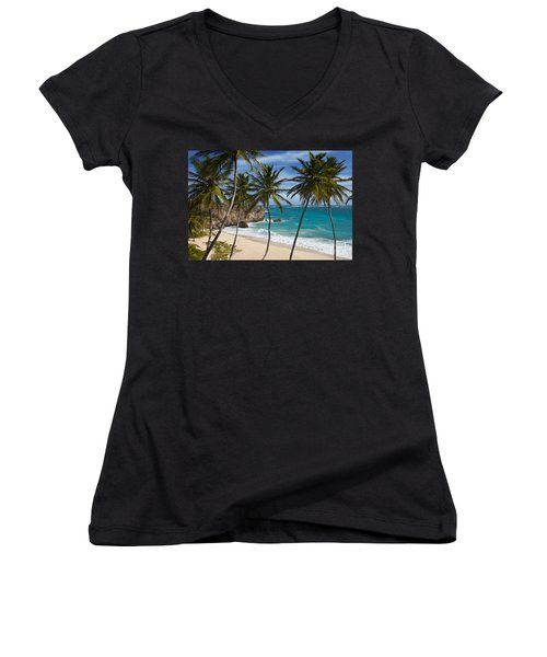 Barbados Beach Women's V-Neck (Athletic Fit)
