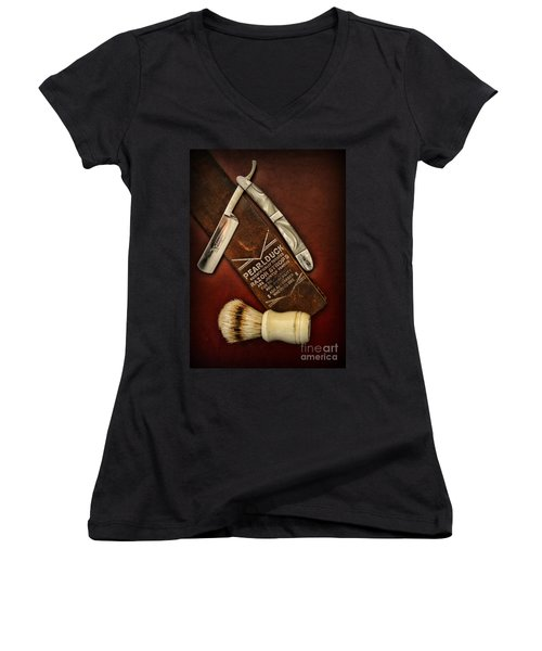 Barber - Tools For A Close Shave  Women's V-Neck T-Shirt