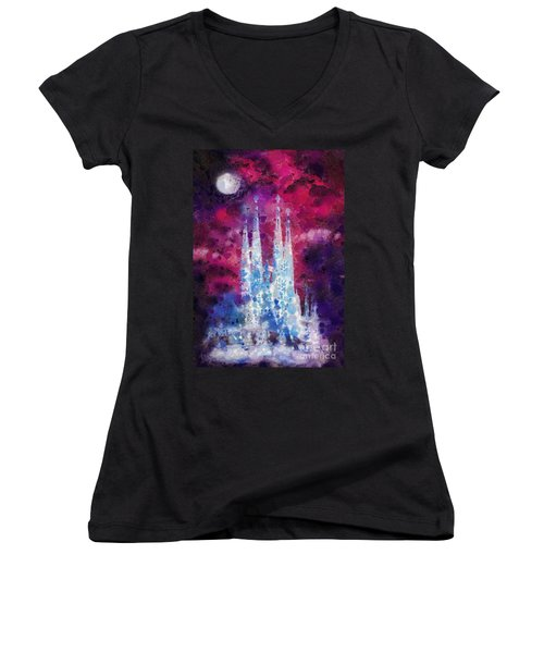 Barcelona Night Women's V-Neck T-Shirt (Junior Cut) by Mo T