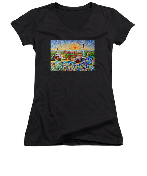 Barcelona View At Sunrise - Park Guell  Of Gaudi Women's V-Neck T-Shirt