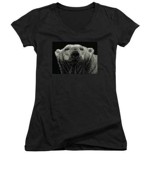 Women's V-Neck T-Shirt (Junior Cut) featuring the drawing Barely Awake by Sandra LaFaut