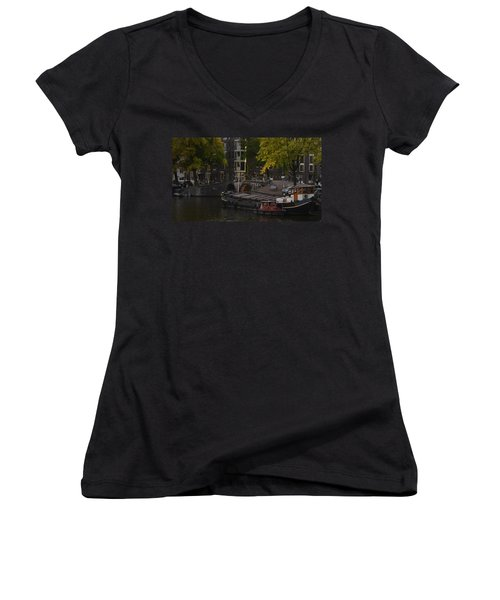 barges in Amsterdam Women's V-Neck (Athletic Fit)