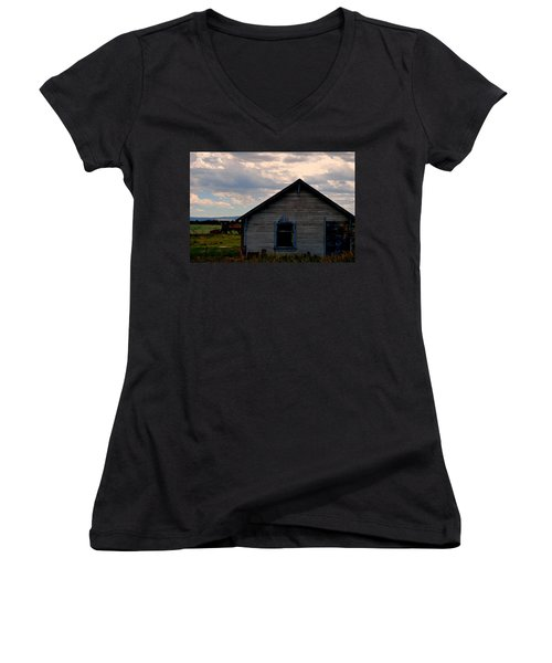 Women's V-Neck T-Shirt (Junior Cut) featuring the photograph Barn And Tractor by Matt Harang