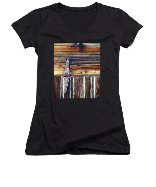 Barn Door Women's V-Neck T-Shirt (Junior Cut) by Wayne Sherriff