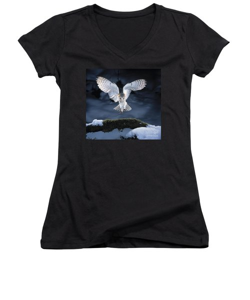 Barn Owl Landing Women's V-Neck T-Shirt (Junior Cut)