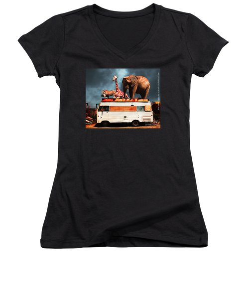 Barnum And Baileys Fabulous Road Trip Vacation Across The Usa Circa 2013 5d22705 With Text Women's V-Neck