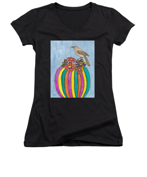Barrel Of Cactus Fun Women's V-Neck T-Shirt (Junior Cut) by Susie Weber