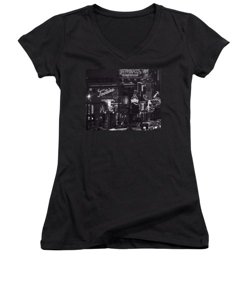 Women's V-Neck featuring the photograph Bars On Broadway Nashville by Dan Sproul