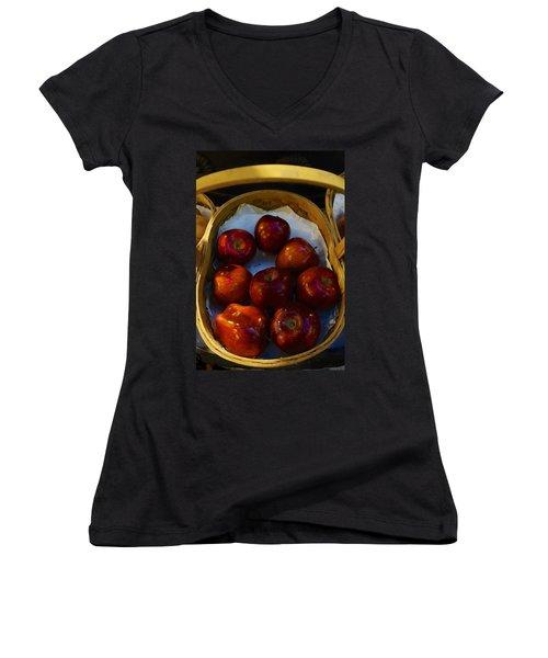 Basket Of Red Apples Women's V-Neck