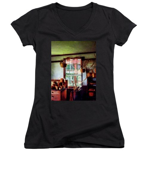 Women's V-Neck T-Shirt (Junior Cut) featuring the photograph Basket Shop by Susan Savad
