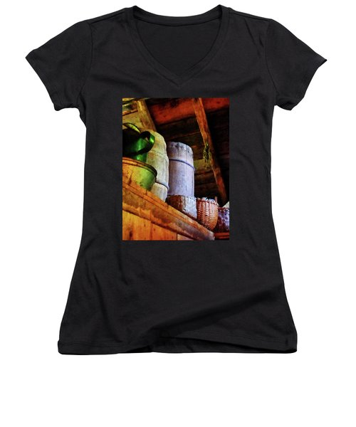 Women's V-Neck T-Shirt (Junior Cut) featuring the photograph Baskets And Barrels In Attic by Susan Savad