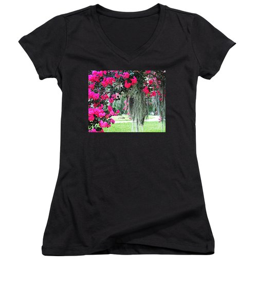 Baton Rouge Louisiana Crepe Myrtle And Moss At Capitol Park Women's V-Neck