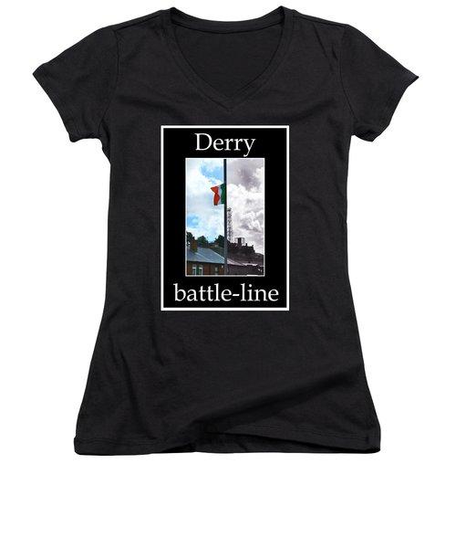 Battleline Women's V-Neck T-Shirt (Junior Cut) by Nina Ficur Feenan