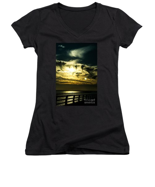 Bay Bridge Sunset Women's V-Neck T-Shirt (Junior Cut) by Angela DeFrias