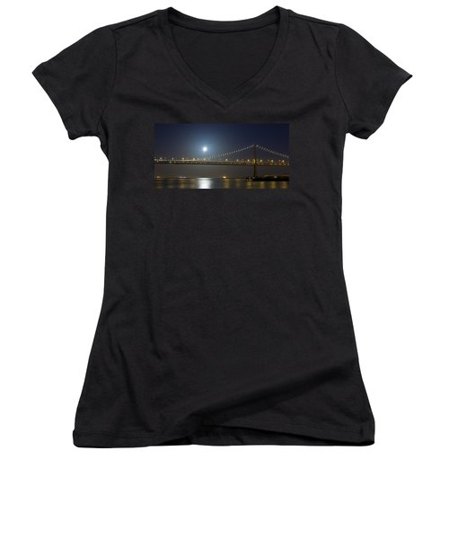 Bay Bridge Supermoon Women's V-Neck