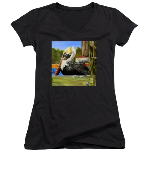 Women's V-Neck T-Shirt (Junior Cut) featuring the painting Bay St. Louis Pelican by Phyllis Beiser