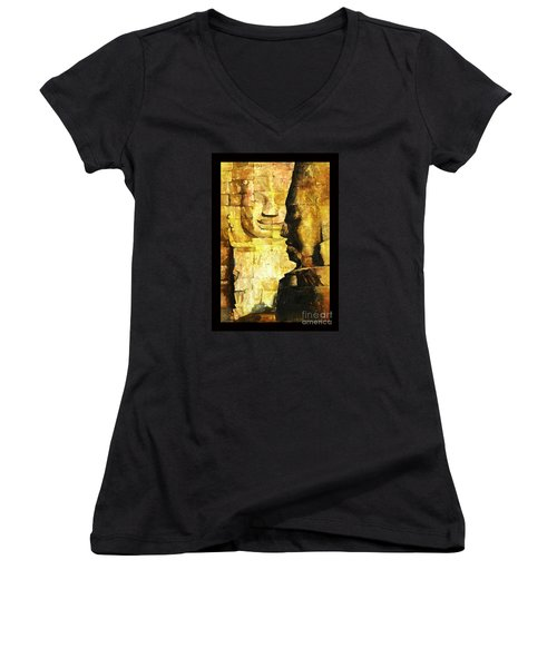 Bayon Khmer Temple At Angkor Wat Cambodia Women's V-Neck T-Shirt (Junior Cut) by Ryan Fox