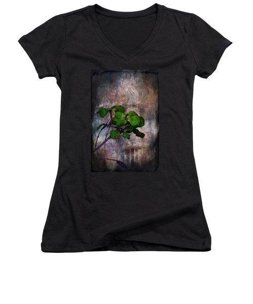 Be Green Women's V-Neck T-Shirt (Junior Cut) by Aaron Berg