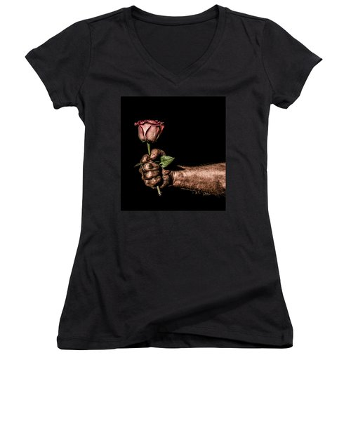 Women's V-Neck T-Shirt (Junior Cut) featuring the photograph Be Mine by Aaron Aldrich