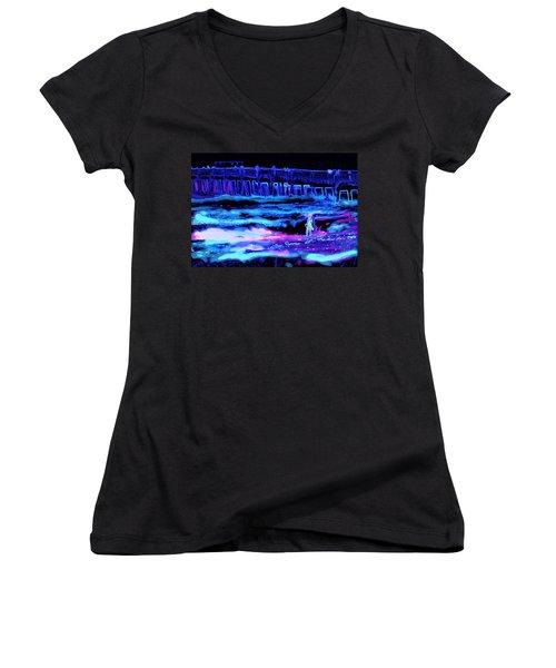 Beach Scene At Night Women's V-Neck T-Shirt
