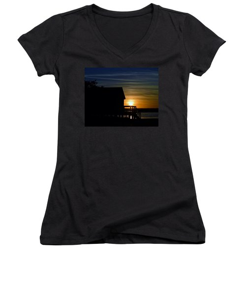 Beach Shack Silhouette Women's V-Neck (Athletic Fit)