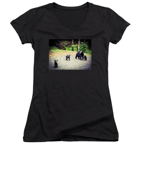 Women's V-Neck T-Shirt (Junior Cut) featuring the photograph Bear Family Affair by Jan Dappen