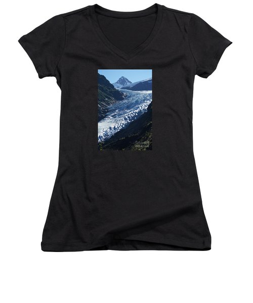 Bear Glacier Women's V-Neck T-Shirt (Junior Cut) by Stanza Widen