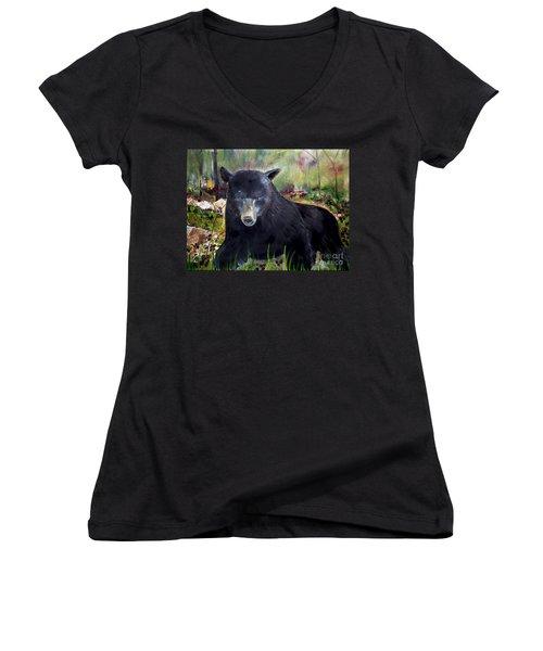 Bear Painting - Blackberry Patch - Wildlife Women's V-Neck