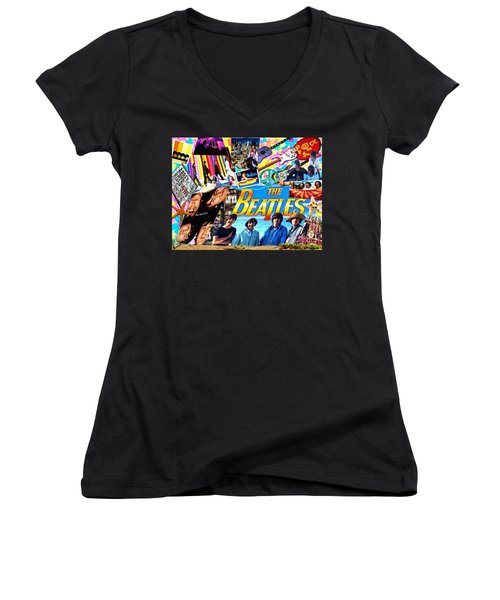 Beatles For Summer Women's V-Neck T-Shirt